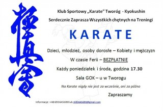 Bezpłatne treningi karate w czasie ferii