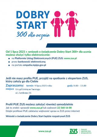 Spotkanie z ekspertem ZUS - Dobry Start 300+